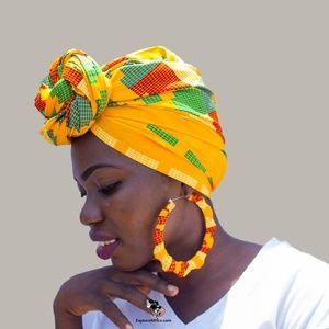Matching Set: African Head Wrap & XL Earrings - 4